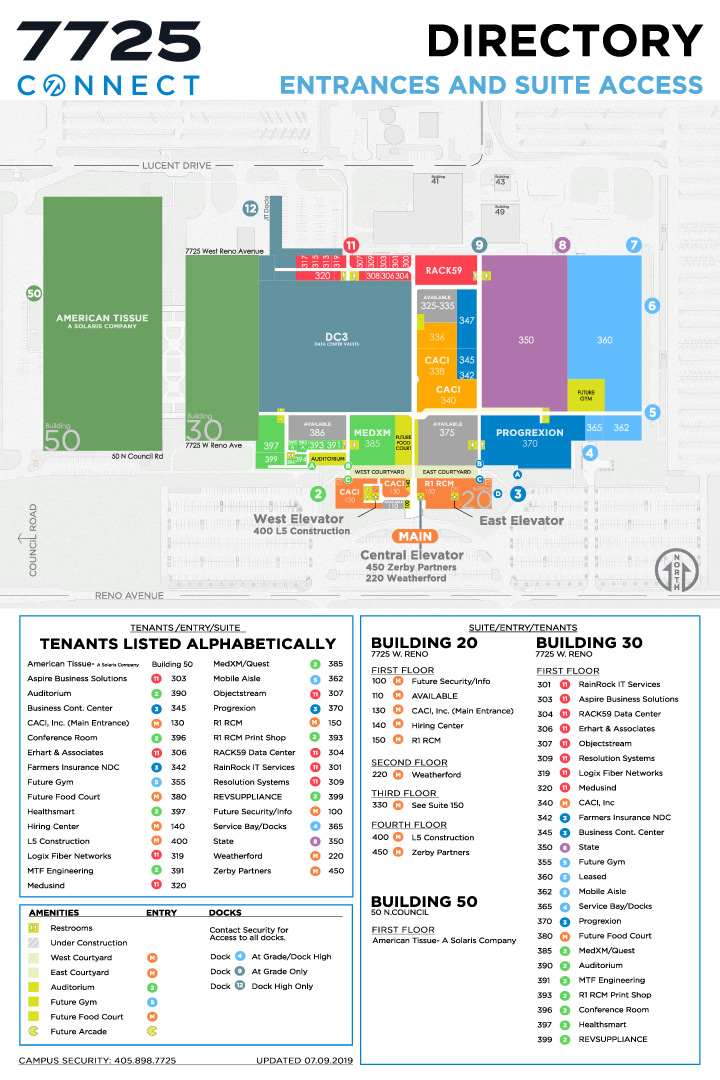 7725 CONNECT campus map and directory